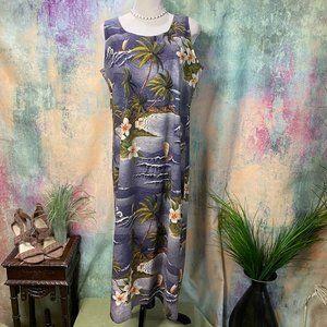 📌Hilo Hattie Vintage Gray Hawaiian Maxi Dress